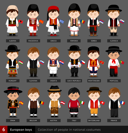 European boys in national dress with flag. Set of european men dressed in national clothes. Collection of people in traditional costume. Vector flat illustration.