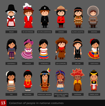 Girls in national costumes. Set of women dressed in traditional clothes. Collection of cute cartoon characters. People. Vector flat illustration. Vettoriali