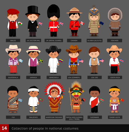 Boys in national costumes. Set of men dressed in traditional clothes. Ilustração