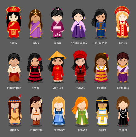 Cartoon girls in different national costumes. Vector illustration of multicultural national woman, people on planet earth. Set of international people in traditional clothes.