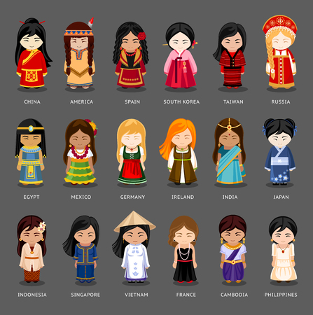 Cartoon girls in different national costumes. 向量圖像