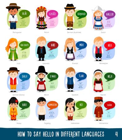 Personajes de dibujos animados que saludan en diferentes idiomas: portugués, polaco, alemán, holandés, irlandés, islandés, finlandés, noruego, galés, sueco, danés, malayo, indonesio, vietnamita, tagalo. Ilustración de vector