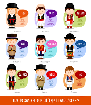 Hello in foreign languages: Estonian, Albanian, Lithuanian, Latvian, Macedonian, Montenegrin, Hungarian, Serbian, Croatian. Cartoon boys with speech bubbles. Vector flat illustration.