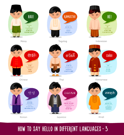 Hello in foreign languages: Indonesian, Filipino, Malay, Chinese, Thai, Vietnamese, Korean, Japanese, Hindi.