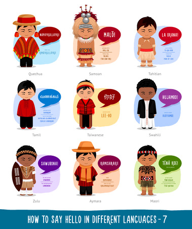 Hello in foreign languages: Quechuan, Aimar, Zulu, Taiwanese, Tahitian,Tamil, Maori, Samoan, Swahili. Cartoon boys with speech bubbles. Template for the dictionary. Vector flat illustration.