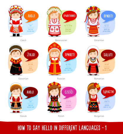 Hello in foreign languages: Russian, Belarusian, Ukrainian, Slovenian, Slovak, Polish, Czech, Romanian, Bulgarian. Illustration