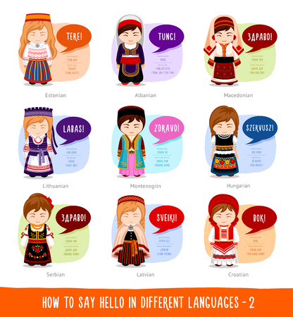 Cartoon characters saying hello in different languages