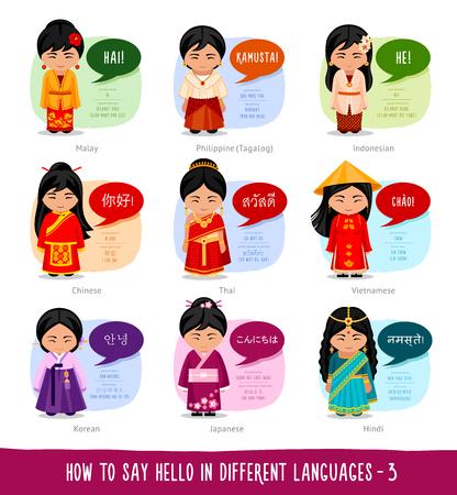 Hello in foreign languages: Indonesian, Filipino, Malay, Chinese, Thai, Vietnamese, Korean, Japanese, Hindi.