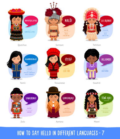 Hello in foreign languages: Quechuan, Aimar, Zulu, Taiwanese, Tahitian,Tamil, Maori, Samoan, Swahili. Cartoon characters with speech bubbles. Vector flat illustration.