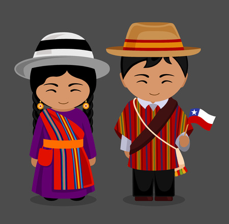 Chileans in national dress with a flag. Man and woman in traditional costume. Travel to Chile. People. Vector flat illustration. Illustration