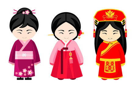 Cute asian girls in national dress. Japanese, chinese and korean women. Vector illustration.