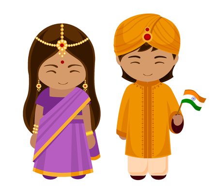 Indians in national dress with a flag. A man and a woman in traditional costume. Cartoon characters. Vector illustration. Иллюстрация
