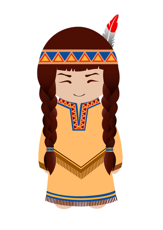 Indian girl. Redskin. Cute cartoon character. Vector illustration. Vettoriali