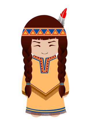 Indian girl. Redskin. Cute cartoon character. Vector illustration. Illustration