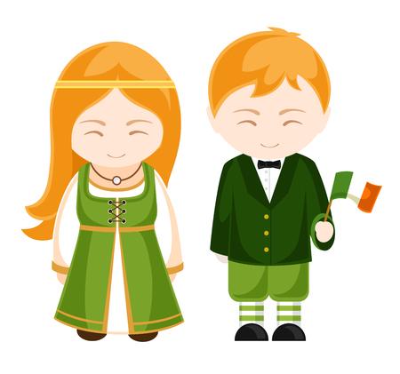 Irish girl and boy in national costume. Irish people. Man and woman. Travel to Ireland. Vector illustration. Vettoriali