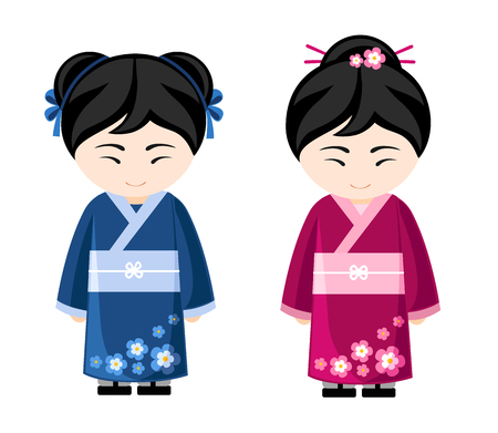 Japanese girls in kimono. Women in traditional clothes, national dress. Travel to Japan vector illustration.