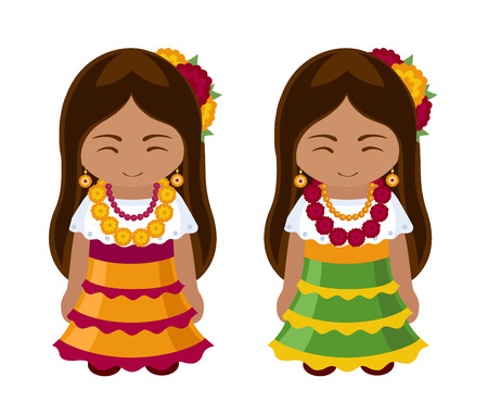 Mexican girls in national dress. Women in traditional clothes. Travel to Mexico. Vector illustration.