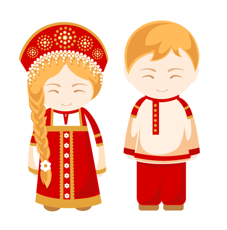 Russian man and woman. People. Russian national costume, national dress and hat, headdress. Vector illustration.