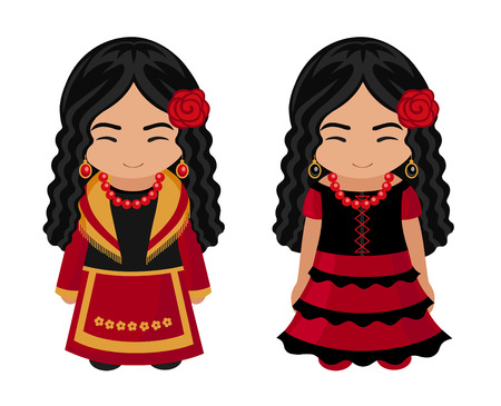 Spanish girls in national costumes. Travel to Spain. People. Vector flat illustration. Çizim