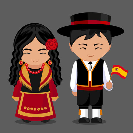 Spanish in national dress with a flag. Boy and girl in traditional costume. Vector flat illustration.