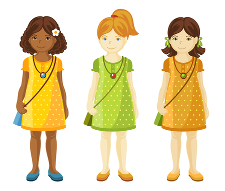 Collection of cute little girls with different hairstyles.Ginger, dark-haired girls. Black girl. Full-length portrait. Illustration