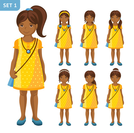Collection of cute African little girls with different hairstyles, in yellow dress. Cartoon characters. Full-length portrait vector illustration. Illustration