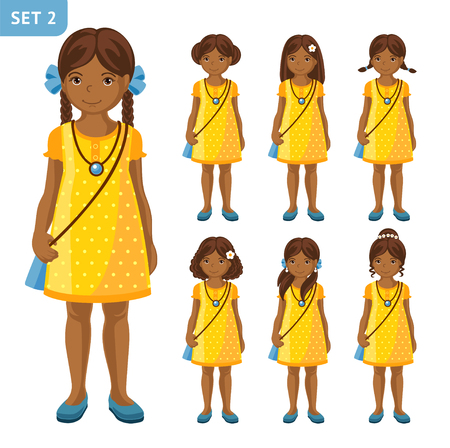 Collection of cute African little girls with different hairstyles, in yellow dress. Cartoon characters. Full-length portrait vector illustration. Иллюстрация