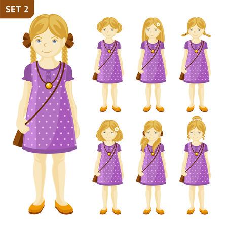 Verzameling van schattige kleine blonde meisjes met verschillende kapsels. Volledige lengte portret. Set van stripfiguren vector illustratie.