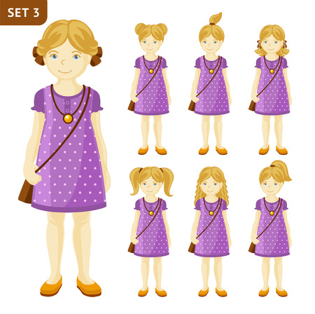 Collection of cute little blonde girls with different hairstyles. Full-length portrait. Set of cartoon characters. Vector illustration.