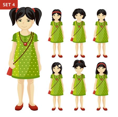 Verzameling van schattige kleine meisjes met verschillende kapsels. Volledige lengte portret. Set stripfiguren. Vector illustratie