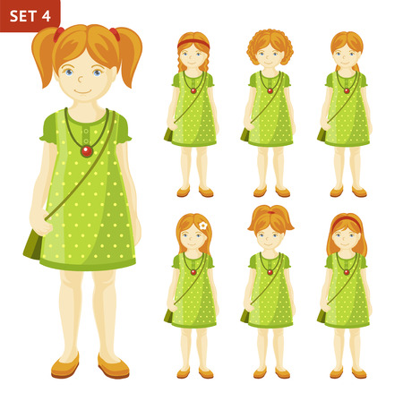 Collection of cute ginger little girls with different hairstyles. Full-length portrait. Set of cartoon characters. Vector illustration.