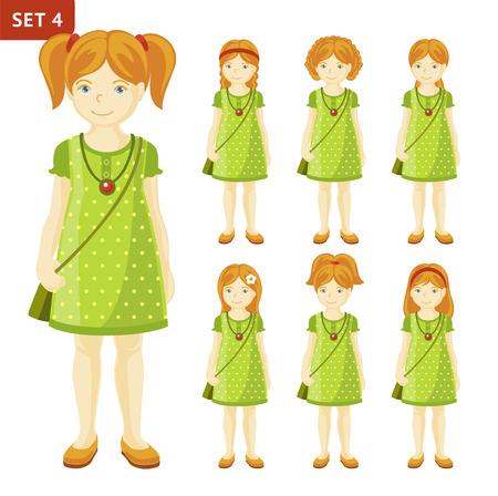 Verzameling van schattige gember kleine meisjes met verschillende kapsels. Volledige lengte portret. Set stripfiguren. Vector illustratie