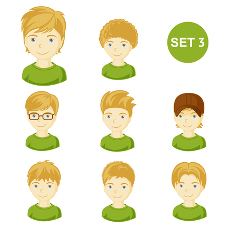 Cute blonde little boys with various hair style. Set of childrens faces. Vector illustration.