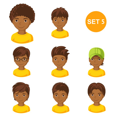Cute little African boys with various hair style. Set of children's faces. Vector illustration.
