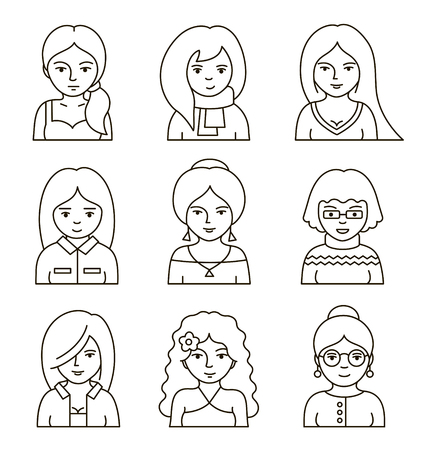 Set of people stylish avatars for profile page. Collection of women's faces. Simple linear style. Vector illustration.