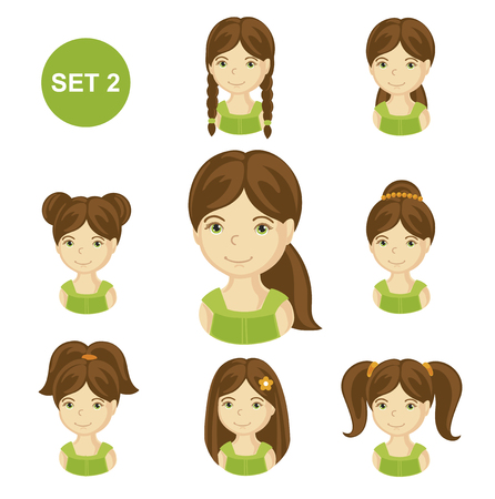 Cute brunet little girls with various hair style. Set of children's faces. Vector illustration. Vettoriali