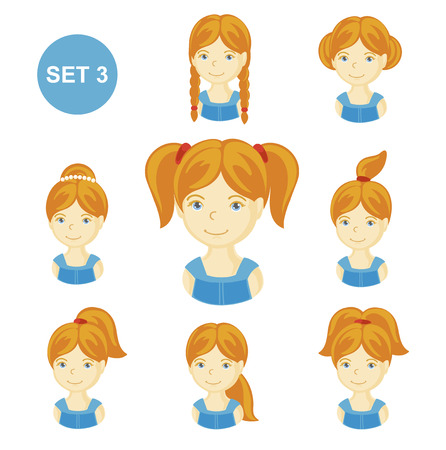 Cute ginger little girls with various hair style. Set of children's faces. Vector illustration. Illustration