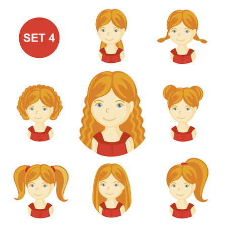 Cute ginger little girls with various hair style. Set of children's faces. Vector illustration. Vettoriali
