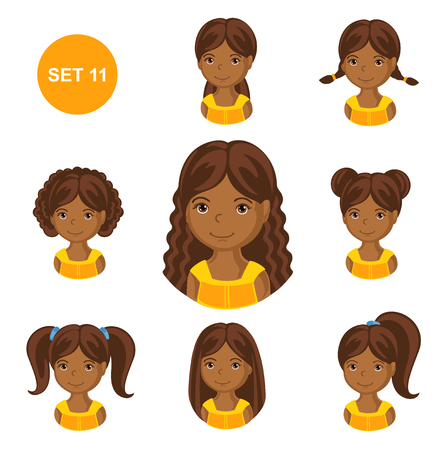 Cute little african girls with various hair style. Set of children's faces. Vector illustration.