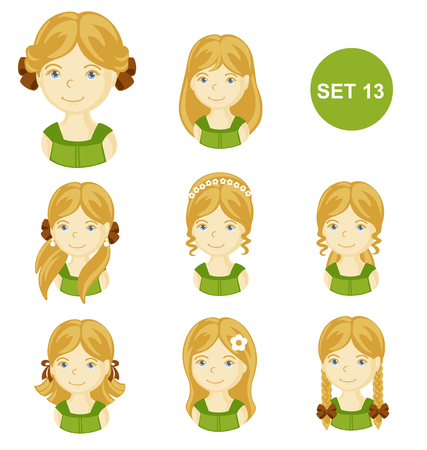 Cute blonde little girls with various hair style. Set of children's faces. Vector illustration.