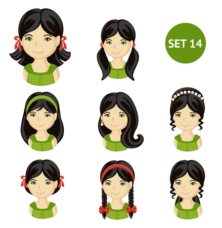 Cute little girls with dark hair and various hair style. Set of children's faces. Vector illustration. Illustration