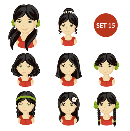Cute little girls with black hair and various hair style. Set of children's faces. Vector illustration.