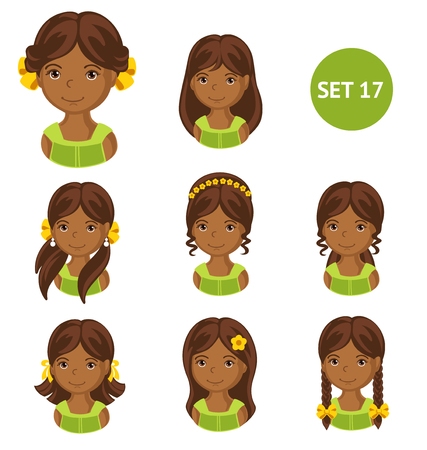Cute little african girls with various hair style. Set of childrens faces. Vector illustration.  イラスト・ベクター素材