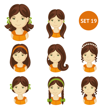 Cute brunet little girls with various hair style. Set of children's faces. Vector illustration. Illustration
