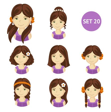 Brunet mignon petites filles avec différents style de cheveux. Ensemble de visages d'enfants. Illustration vectorielle.