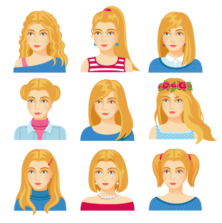 Set of woman faces with various hairstyle. Collection of young girls portraits. Different avatars of blonde girls. Vector illustration.