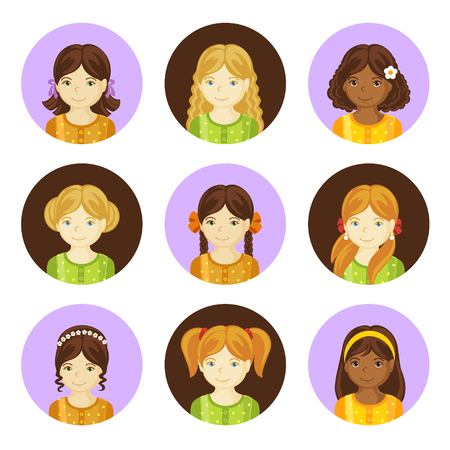 Cute little girls with various hair style. Set of children's faces. Round avatars. Vector illustration.