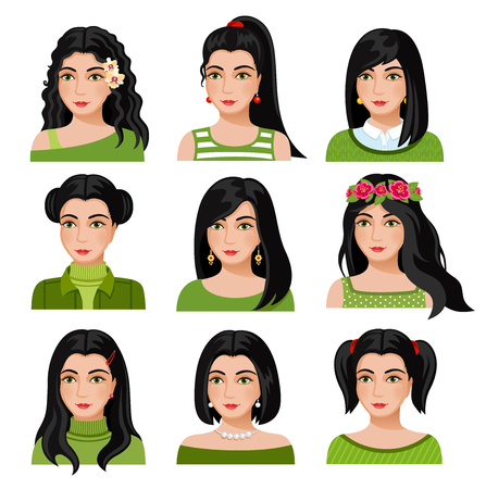 Set of woman faces with various hairstyle. Collection of young girls portraits. Different avatars of black-haired girls. Vector illustration.