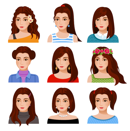 Set of woman faces with various hairstyle. Collection of young girls portraits. Different avatars of brown-haired girls. Vector illustration. Illustration