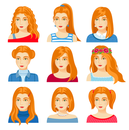 Set of woman faces with various hairstyle. Collection of young girls portraits. Different avatars of ginger girls. Vector illustration.